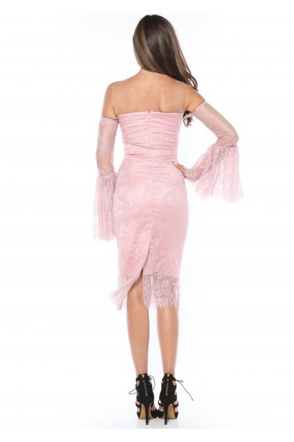 Rochie roz Roserry din dantela cu maneca evazata