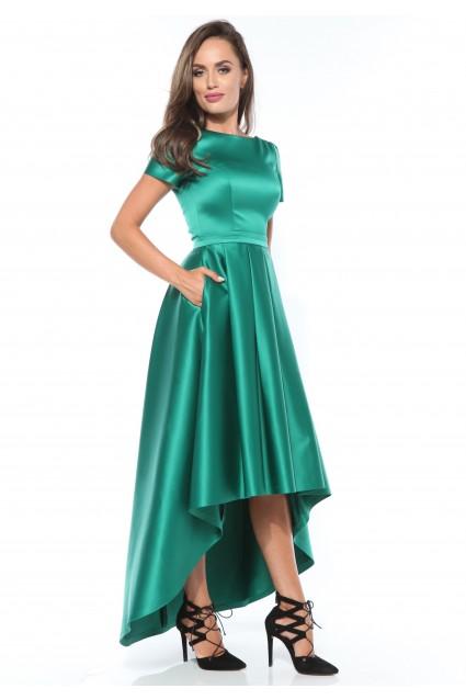 Rochie verde smarald Roserry asimetrica din tafta