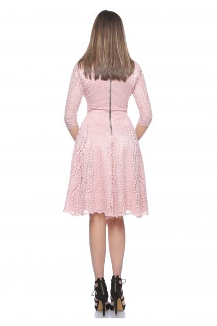 Rochie roz Roserry clos din dantela