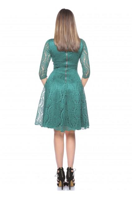 Rochie verde Roserry clos din dantela