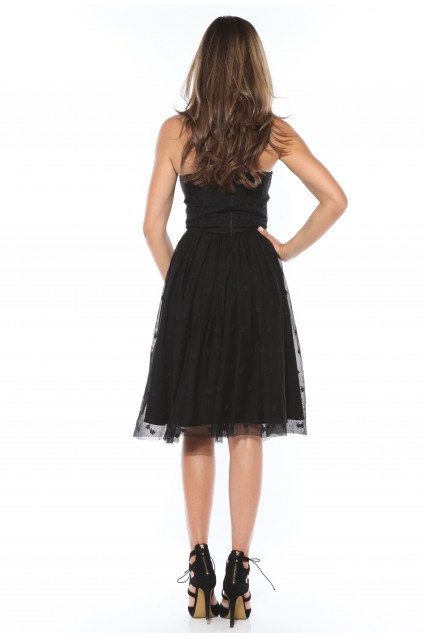 Rochie neagra Roserry clos din broderie pe tulle