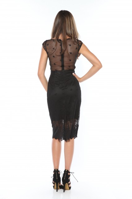 Rochie neagra Roserry dreapta din broderie pe tulle
