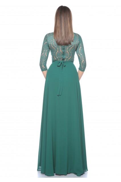 Rochie verde Roserry lunga din dantela si voal