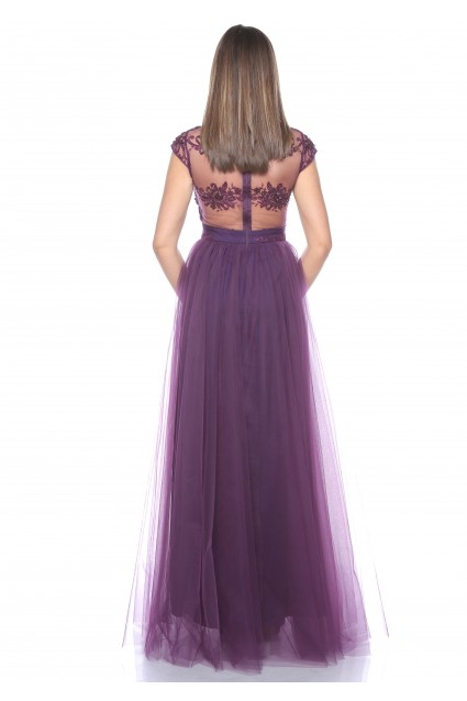 Rochie mov Roserry lunga din broderie si tulle