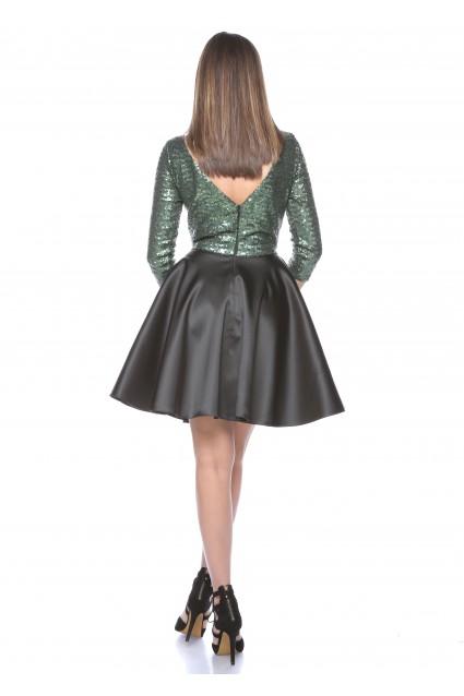 Rochie verde Roserry clos din paiete si tafta