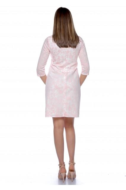 Rochie roz Roserry dreapta cu imprimeu si buzunare