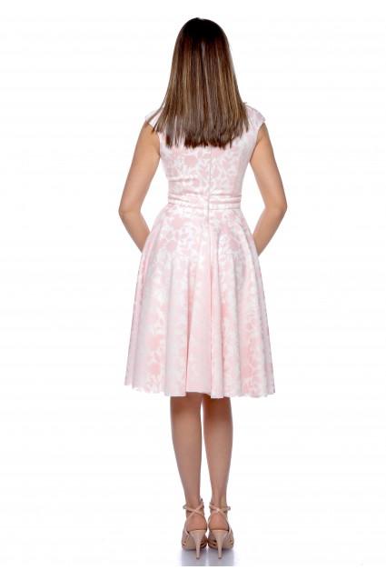 Rochie roz Roserry clos cu imprimeu si buzunare