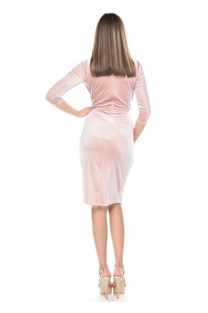 Rochie roz Roserry din catifea petrecuta