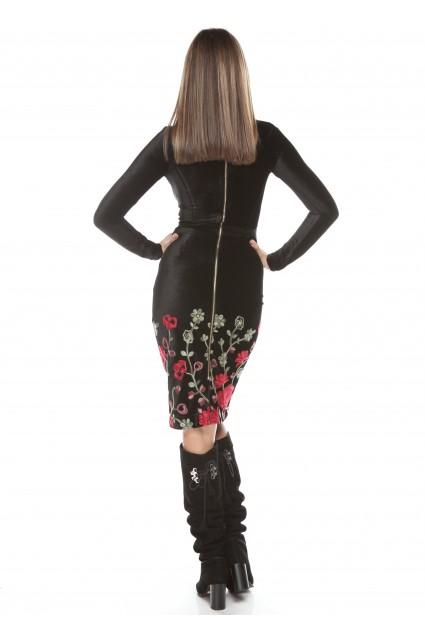 Rochie neagra Roserry midi din catifea brodata