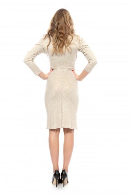 Rochie creme Carmencita tricotata cu maneca lunga