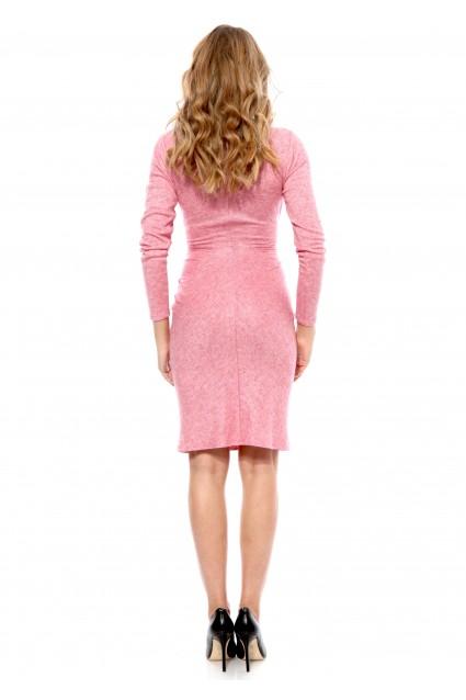 Rochie roz Carmencita tricotata cu maneca lunga