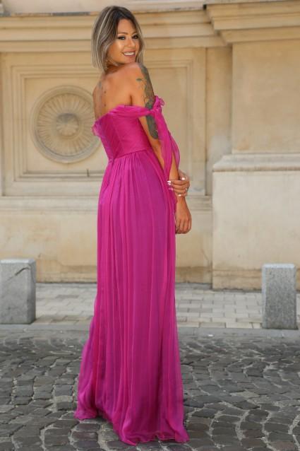 Rochie fuchsia Roserry lunga din matase naturala cu bust corset